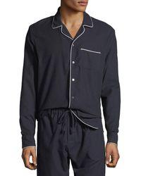 Desmond & Dempsey Men's Contrast-piping Lounge Shirt - Blue