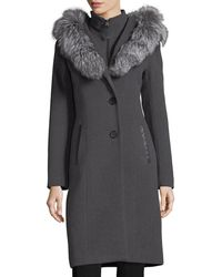 Mackage - Mila Button-front Hooded Wool Trench Coat W/ Fur Trim - Lyst