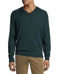 Vince Men's Wool V-neck Sweater With Elbow Patches - Green