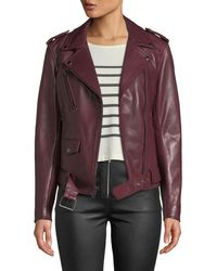 7 For All Mankind - Zip-front Leather Biker Jacket - Lyst