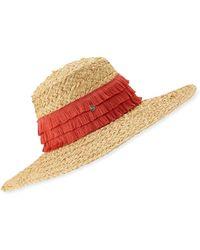 Tracy Watts Mar Braided Raffia Sun Hat W/ Fringe Trim - Multicolour