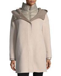 Fleurette - Double-face Hooded Wool Coat W/ Ultra Light Down Jacket - Lyst