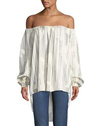 Halston - Striped Off-the-shoulder Top - Lyst