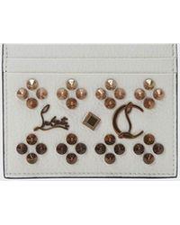 Christian Louboutin Kios Studded Leather Card Case - White