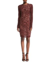 83eb7168c2 Lyst - Naeem Khan Embroidered Linen Dress in Gray