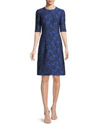 Lela Rose - Holly Floral-jacquard Elbow-sleeve A-line Dress - Lyst