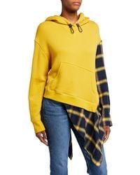 Monse Cascade Flannel Asymmetric Hoodie - Yellow