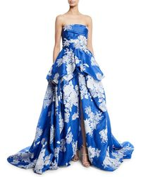 Monique Lhuillier - Strapless Hand-tufted Floral-print Organza Ball Gown - Lyst