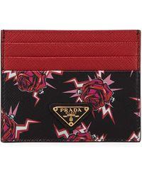 Prada - Pink And Black Heart Printed Card Holder - Lyst