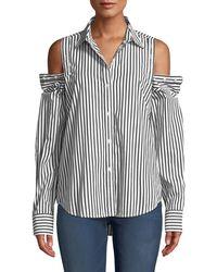 Current/Elliott - The Loretta Striped Button-shoulder Top - Lyst