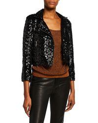 Nour Hammour Sparkled Leather Crop Biker Jacket - Black