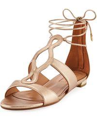 Aquazzura - Flirt Metallic Flat Ankle-tie Sandal - Lyst