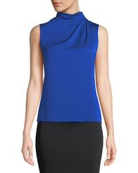 Giorgio Armani - Funnel-neck Sleeveless Silk Blouse - Lyst
