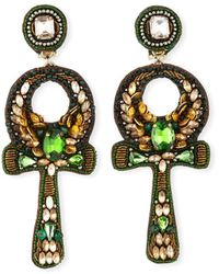 Ranjana Khan Safiya Ankh Clip Earrings - Green