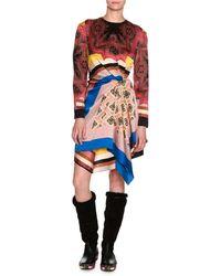 Etro - Mixed-print Long-sleeve Silk Minidress - Lyst