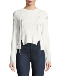 Jonathan Simkhai - Linked Rib-knit Long-sleeve Sweater With Lace-up - Lyst