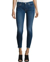 7 For All Mankind - The Ankle Skinny Jeans With Raw Hem Indigo - Lyst