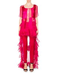 Givenchy High-low Short-sleeve Ruffled Chiffon Lace Cocktail Dress - Pink