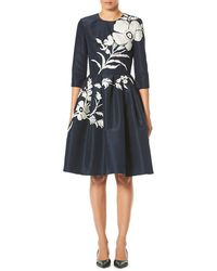 Carolina Herrera - Elbow-sleeve Floral-embroidered Fit-and-flare Cocktail Dress - Lyst