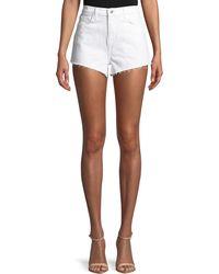 L'Agence - Ryland High-rise Denim Cutoff Shorts - Lyst