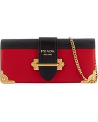31d6c4e7b975 Lyst - Prada City Clutch Calf Leather Nero fuoco in Black