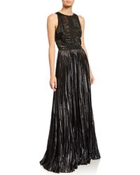J. Mendel Embroidered Bustier Halter Gown - Black