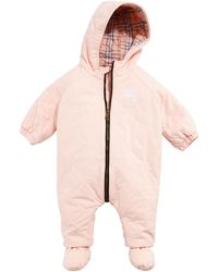 Burberry Skylar Diamond Quilted Hooded Coverall Snowsuit - Pink