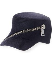 Philip Treacy - Trilby Velour Baseball Cap W/ Oversized Zip Detail - Lyst