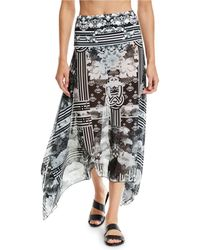 Camilla - Handkerchief Floral-printed Mesh Sarong Coverup - Lyst
