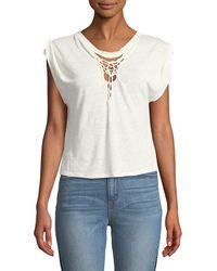 IRO - Seemly Linen Macrame Short-sleeve Top - Lyst