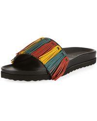 Buscemi - Multicolour Fringe Leather Slide Sandal - Lyst