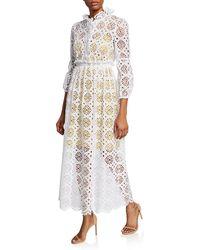 Diane von Furstenberg - Leandra Cotton Eyelet Midi Dress - Lyst