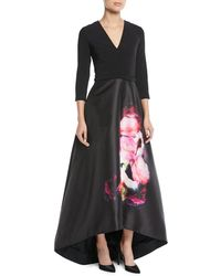 THEIA - High-low Ball Gown W/ Flower Skirt - Lyst