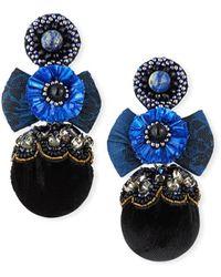 Ranjana Khan Nailah Clip-on Bow Pom Earrings - Blue