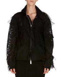 Sacai | Chiffon Lace Bomber Jacket | Lyst