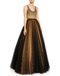 J. Mendel - Embroidered Bustier Tulle Skirt Gown - Lyst
