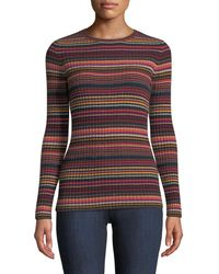 Autumn Cashmere - Multi-stripe Ribbed Cashmere Sweater - Lyst
