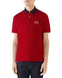 f7918b622cc2 Gucci Striped Collar Polo T-shirt in White for Men - Lyst
