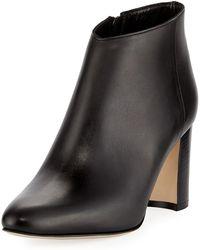 Manolo Blahnik - Brusta Leather Stack-heel Bootie - Lyst
