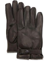 Portolano Men's Cashmere-lined Napa Gloves W/belted Snap - Black