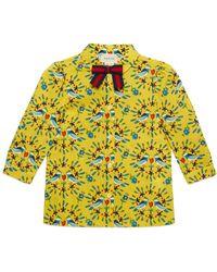 Gucci Love Birds-print Long-sleeve Blouse - Yellow