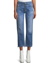 Veronica Beard - Ines Straight-leg Girlfriend-style Jeans With Paint Splatter - Lyst