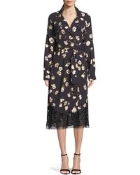 Lela Rose - Double-breasted Floral-print Wrap Dress With Lace Hem - Lyst