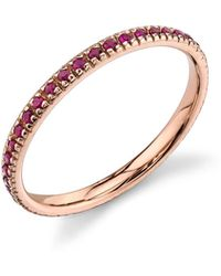 Sydney Evan - 14k Rose Gold Band Ring With Rubies - Lyst