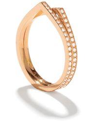 Repossi Antifer Two-row Ring With Diamonds In 18k Gold - Metallic