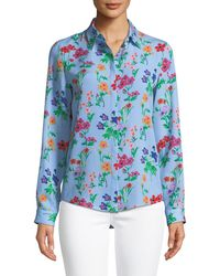 Novis - Oak Button-front Long-sleeve Floral-print Silk Blouse - Lyst