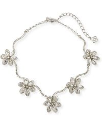 Oscar de la Renta - Crystal Delicate Flower Necklace - Lyst
