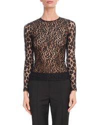 Givenchy - Crewneck Long-sleeve Fitted Sheer Leopard Lace Top - Lyst