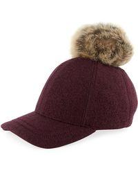 UGG - Wool-blend Baseball Hat W/ Fur Pompom - Lyst