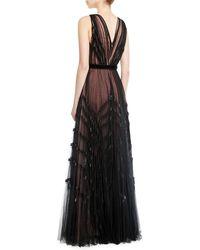 J. Mendel - V-neck Sleeveless Pleated Embellished Tulle Evening Gown - Lyst